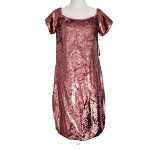 NWT Aidan Mattox Pink Sequin Short Sleeveve Dress